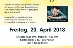 Magic Dinner mit Christoph Kulmer im Kohlberghof
